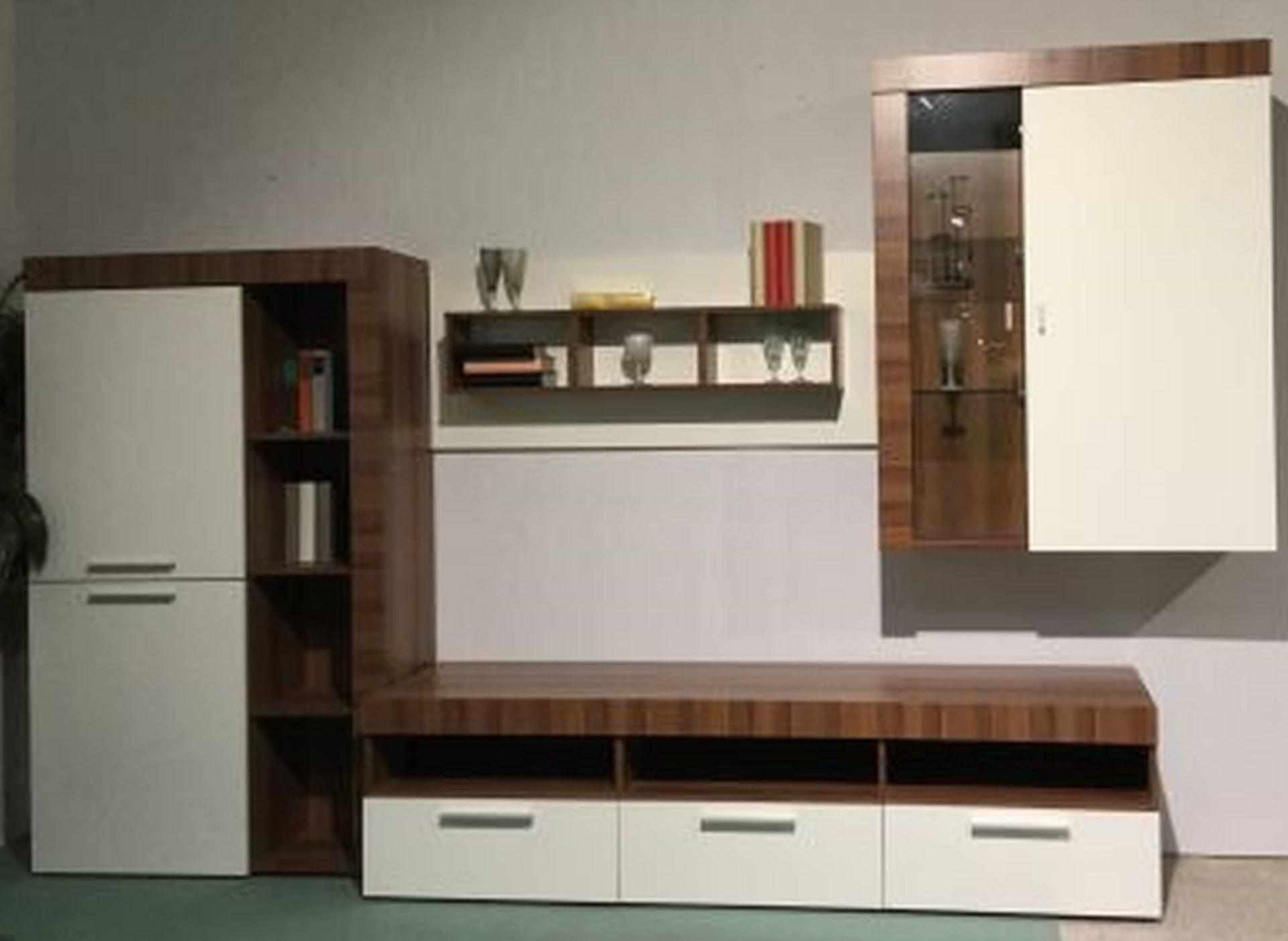 Wohnwand nussbaum weiß günstig  Möbel Hermes , Ausstellungsstücke, Wohnwand, Wohnwand, Korpus ...